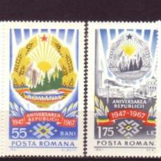 ROMANIA 1967 - PROCLAMAREA REPUBLICII. STEMA, STEAGUL ROMANIEI, serie MNH, M332, Nestampilat