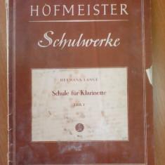 Schule fur Klarinette - HERMANN  LANGE , + 3 tabele de grifura pentru clarinet
