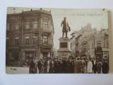 Rara!Carte postala Galati circulata 1931,animata:caminul sionist,banca scont,etc, Fotografie, Printata