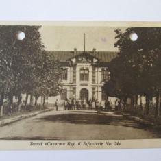 Carte postala Tecuci 1926,cazarma Reg.6 infanterie,viitoarea scoala de pilotaj, Circulata, Printata, Galati