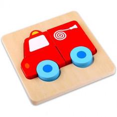 Mini Puzzle din Lemn Masina Pompierilor