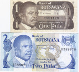 BOTSWANA set 1 Pula si 2 Pula - vand bancnotele care se vad in poze