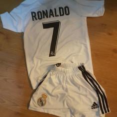 ECHIPAMENT FOTBAL REAL MADRID, copii 4-16 ani, model NOU 2018-2019, 7 RONALDO, Marime: YXXL, YXL, YL, YM, YS, YXS, Set echipament fotbal