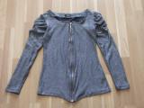 2 bluze jerse (maneca lunga + maneca scurta), o curea (centura) cu funda dantela, 39, Albastru
