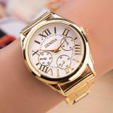 Ceas dama auriu gold GENEVA curea metalica model clasic + ambalaj cadou, Mecanic-Manual, Otel