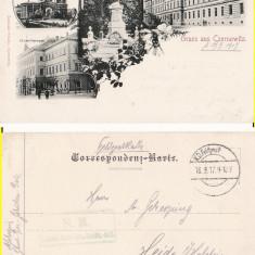 Cernauti , Bucovina - litografie -editura Romuald Schally, Circulata, Printata