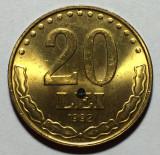 20 Lei 1992, Romania UNC, Luciu de batere, Alama