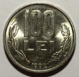 100 Lei 1992 Romania UNC, Luciu de batere, cifre groase, Fier