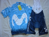 Echipament ciclism Movistar 2018 set pantaloni cu bretele si tricou costum Nou