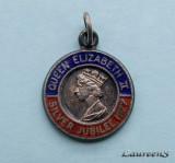Medalion Anglia  -  Queen Elizabeth II  - Silver Jubilee 1977  -  Argint 2.2 g