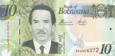 Bancnota Botswana 10 Pula 2014 (2017) - P30d UNC foto