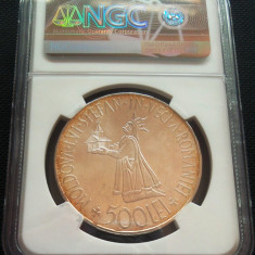 MONEDA ISTORICA ARGINT 500 LEI, anul 1941 * CJACOD 01 --- GRADATA NGC MS 63 - Moneda Romania