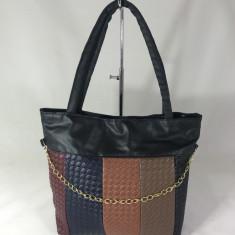 Geanta dama mare neagra multicolora+CADOU