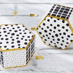 Cutie Eleganta Hexagonala pentru bomboane/Marturie nunta 28350NA - Inel Swarovski