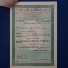 """Polita de asigurare 1938 - Soc. """" Asigurarea Romaneasca """""""