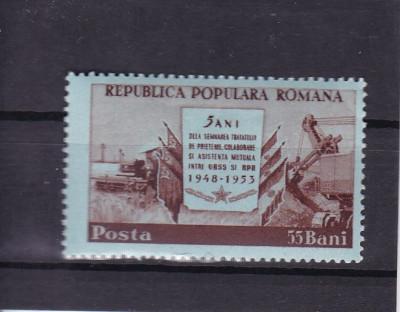 ROMANIA 1953  LP 340 - 5 ANI DE LA TRATATUL DE PRIETENIE CU URSS  MNH foto
