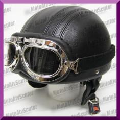 CASCA MOTO Chopper RETRO Vespa Piele, Marime: S, M, Openface