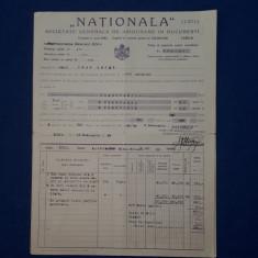 """Polita de asigurare - 1929 - Soc. """" Nationala """""""
