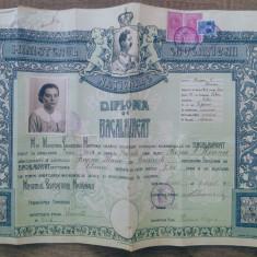 Diploma de Bacalaureat 1938, liceul Regina Maria Bucuresti// portret MS Carol II