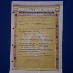 "Polita de asigurare - 1942 - Soc. "" Agricola Fonciera """