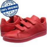 Pantofi sport Adidas Originals Stan Smith pentru barbati - adidasi originali, 40 2/3, Rosu, Piele naturala
