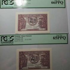 2 bancnote inseriate a 2 lei 1938-gradate 65 si 66 PPQ--Pret-1000 lei - Bancnota romaneasca