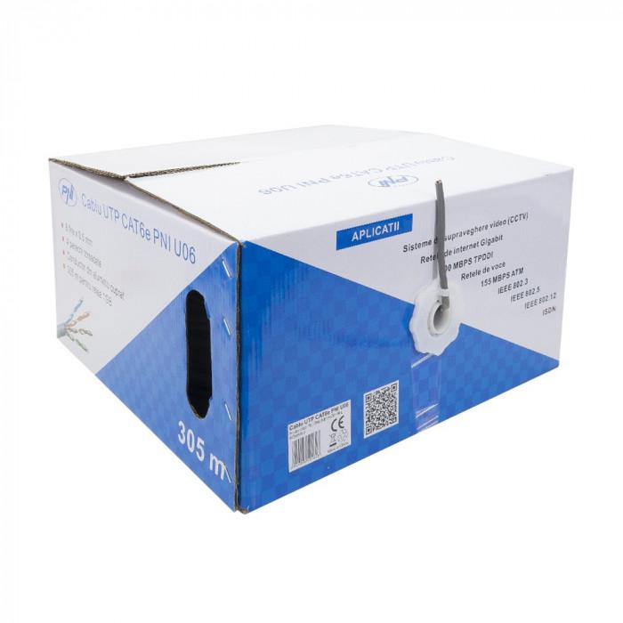 Aproape nou: Cablu UTP CAT6e PNI U06 cu 4 perechi pentru internet 1 Gigabit si sist foto mare