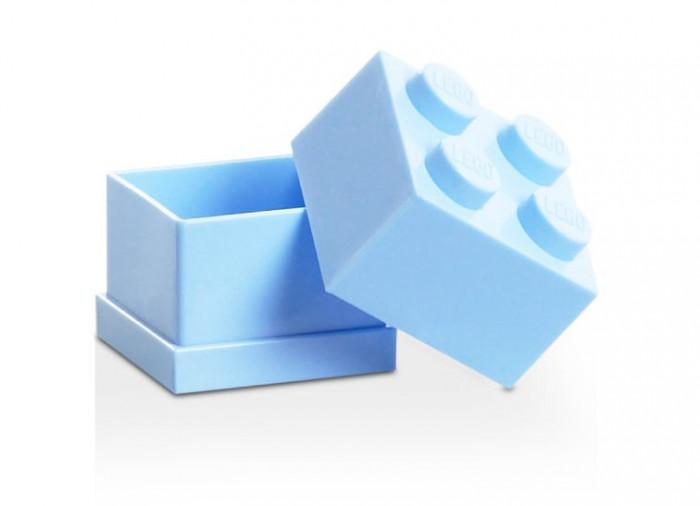Mini cutie depozitare LEGO 2x2 albastru deschis foto mare