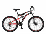"""Bicicleta MTB Full Suspensie Umit Stitch 2D, culoare Negru/Rosu Roata 26""""PB Cod:26261000001, 21"""