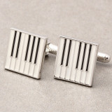 Butoni noi tema muzica forma pian argintiu clape + ambalaj cadou, Inox