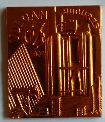 Intreprinderea VULCAN din BUCURESTI 1983 UTILAJ PETROLIER Medalie in cutie foto
