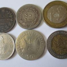 Lot 6 monede straine colectie, vedeti foto, America Centrala si de Sud, An: 1956, Cupru-Nichel