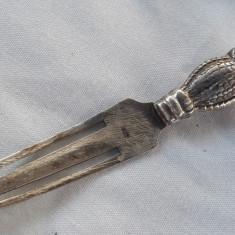 SEMN de CARTE argint BUFNITA ca Heraldica VECHE superba Patina Minunata RARA, Ornamentale