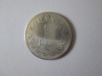 Romania 1 Leu 1874 argint in stare slaba foto