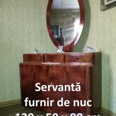 Servantă, furnir de nuc, cu oglinda ovală 115 x 80 cm - Comoda dormitor