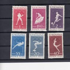 ROMANIA  1960  LP 499   JOCURILE OLIMPICE ROMA II   SERIE  MNH