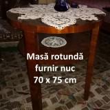 Masă rotundă  furnir nuc 70 x 75 cm