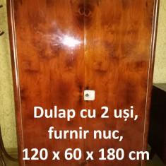 Dulap cu 2 uși, furnir nuc, 120 x 60 x 180 cm - Sifonier, Lemn masiv, Numar de usi: 2