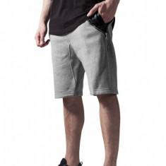 Pantalon scurt cu buzunare piele gri-negru S