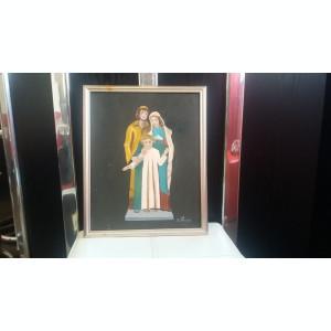 TABLOU ART DECO ULEI PE PANZA SCENA RELIGIOASA ISUS,IOSIF SI MARIA SEMNAT