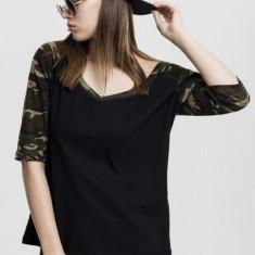 Tricouri cu maneca trei sferturi raglan negru-camuflaj L