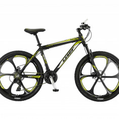 """Bicicleta MTB Umit Accrue 2D , Cadru 18"""" , 21 Viteze , Culoare Negru/Galben RoatPB Cod:26560000001"""