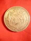 Moneda 5 lei 1881, Carol I Rege , argint , cu 5 stele pe muchie