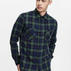 Checked Flanell Shirt 3 verde-bleumarin-negru M