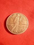 Moneda 2 Lei 1911  Carol I ,argint ,muchie dreapta ,cal.f.buna