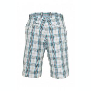 Pantalon scurt in carouri alb-turcoaz-negru 32