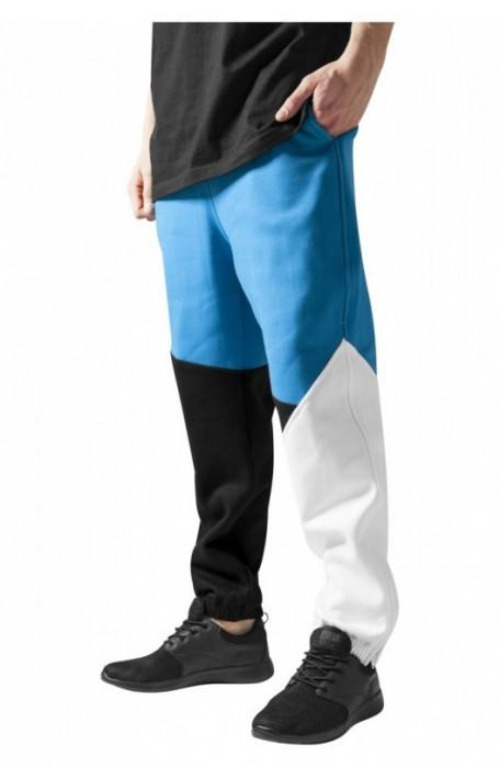 Pantalon trening zig zag negru-turcoaz-alb L