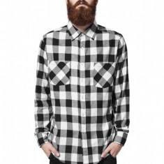Camasi in carouri barbati negru-alb S, Maneca lunga