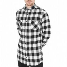 Camasa lunga barbati negru-alb XL, Maneca lunga
