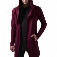 Long Hooded Open Edge Cardigan rosu burgundy 2XL